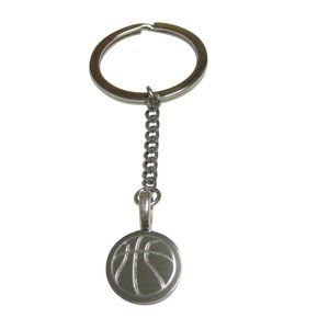 Etched Round Basketball Pendant Keychain